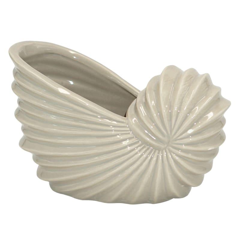 7X5 Ceramic Seashell Planter Natural