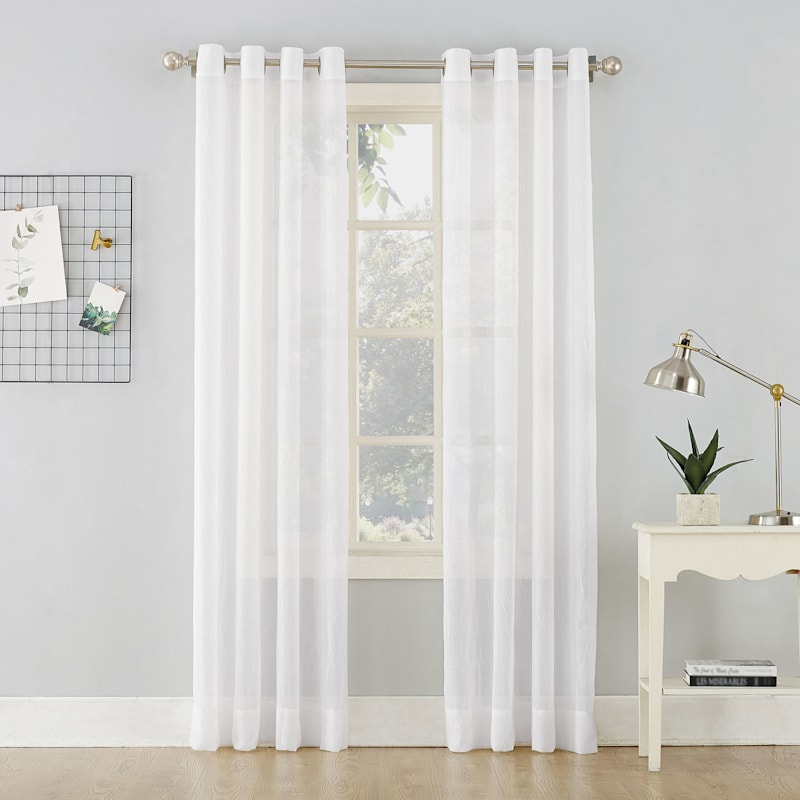 Erica White Sheer Crushed Voile Grommet Window Panel 63in.