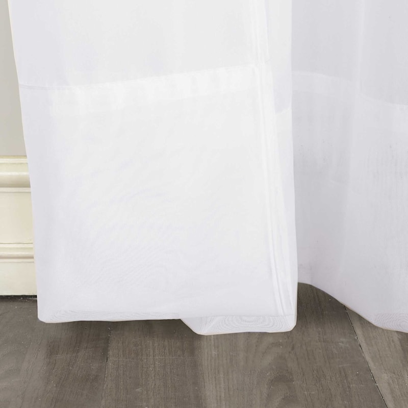 Erica White Sheer Crushed Voile Rod Pocket Window Panel 63in.