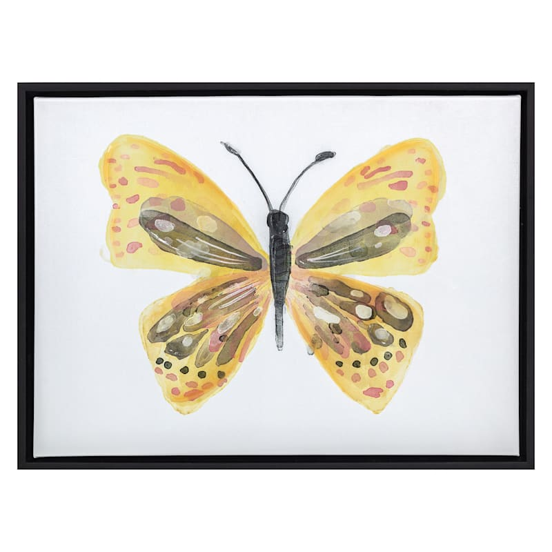16X12 Yellow Butterfly Textured Canvas