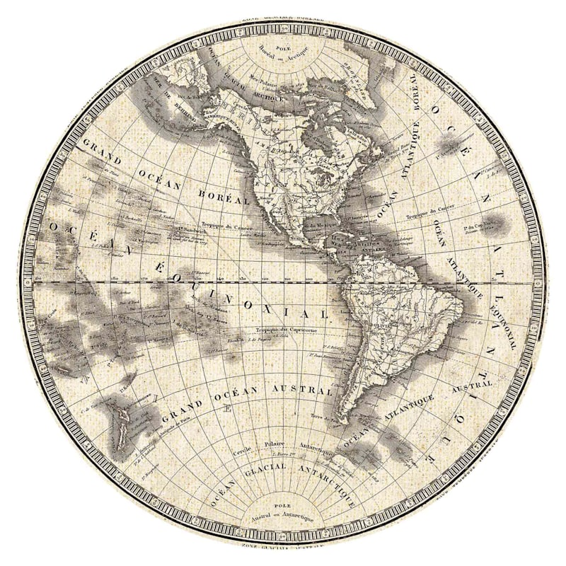 28D French World Map Iii Round Canvas