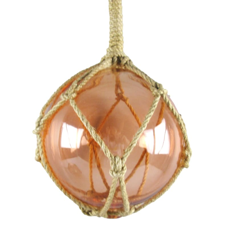 Glass Sphere On Rope 6in. Coral