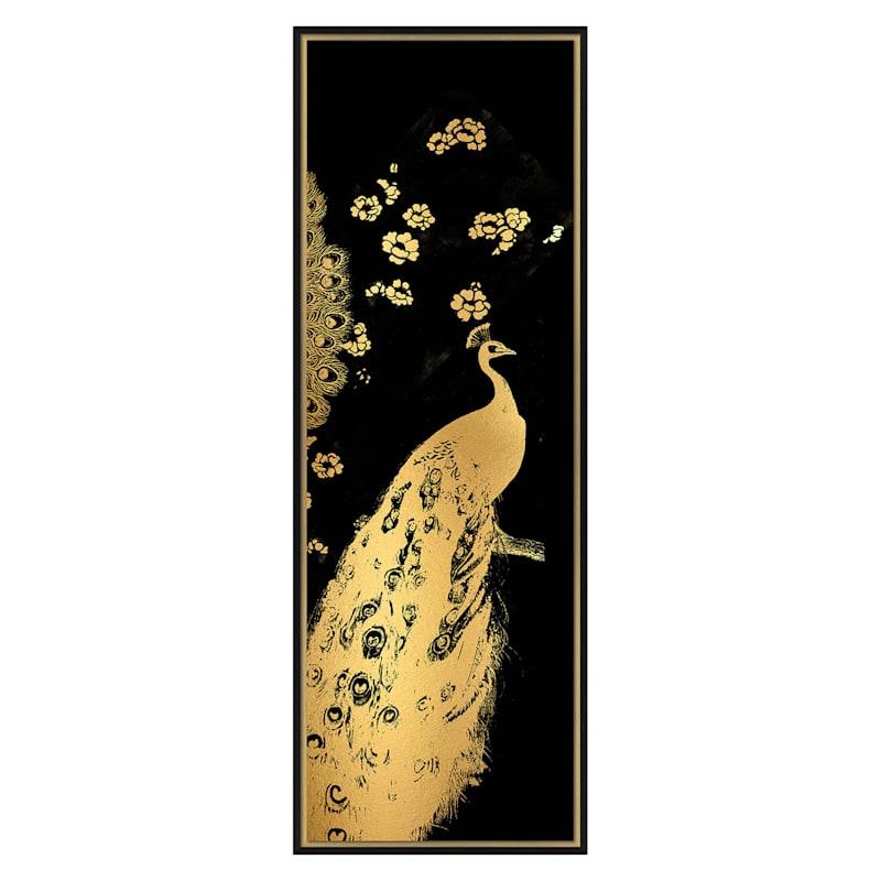 13X37 Gilded Peacock Triptych Iii Framed Foil Embellished Art Under Glass