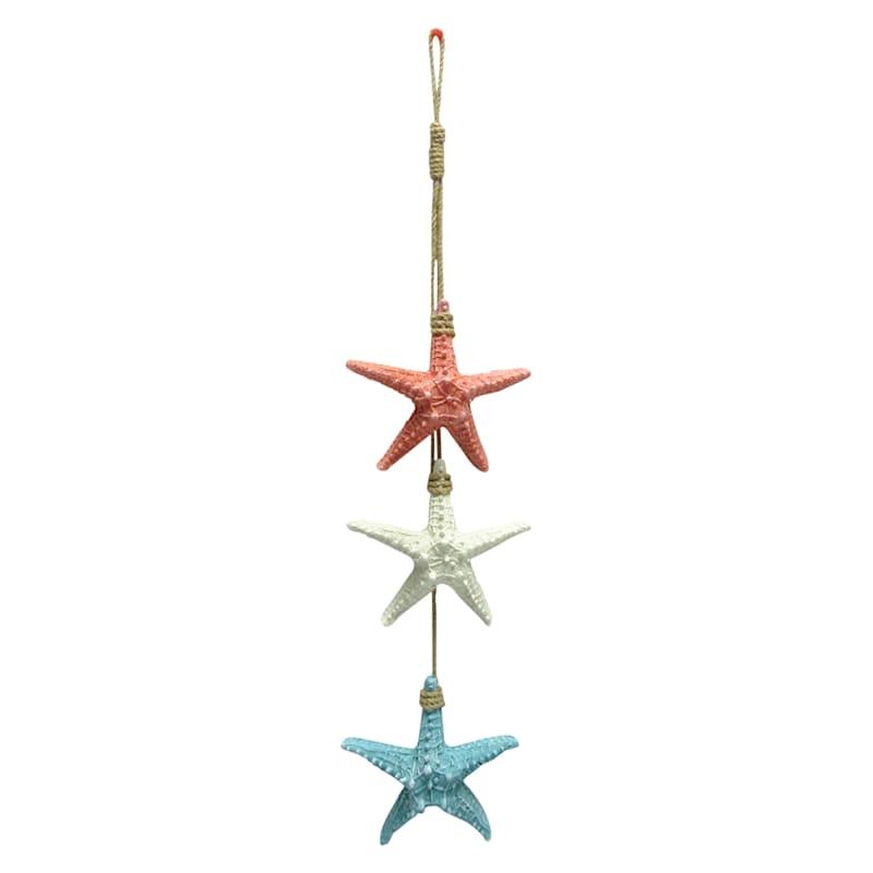 Three Starfishes on Rope Hanger