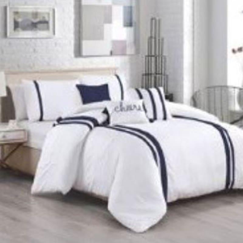 Marina Bay Blue 5-Piece Stripe Comforter Set Queen