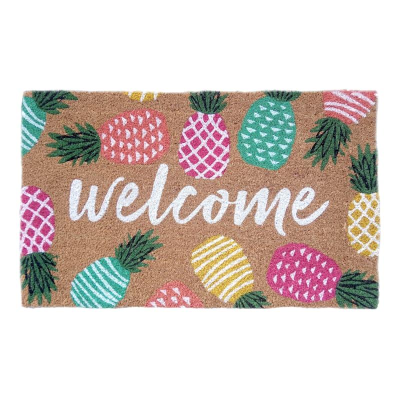 Welcome Pineapples Coir Doormat, 18 X 30