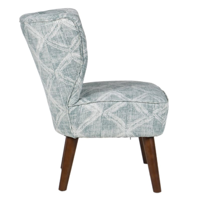 Tracey Boyd Sasha TB Dakari Blue Green Print Wing Accent Chair