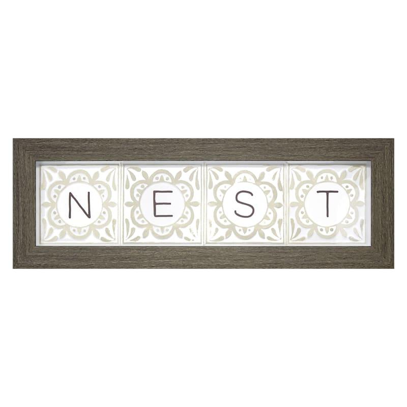 20x5.5 Nest Framed Art Under Glass