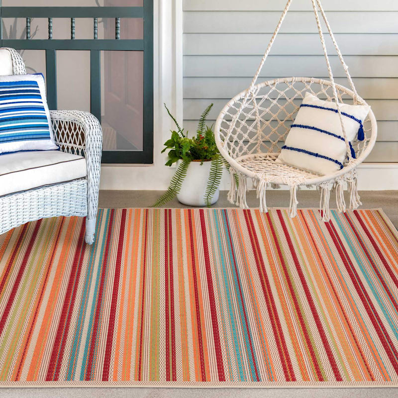 (E309) Scope Stripe Multi Colored Indoor/Outdoor Woven Area Rug, 5x7