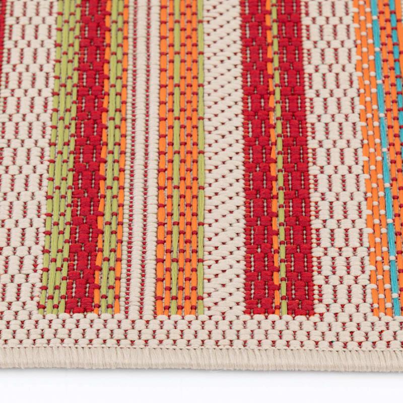 (E309) Scope Stripe Multi Colored Indoor/Outdoor Woven Area Rug, 8x10