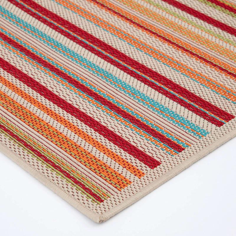 (E309) Scope Stripe Multi Colored Indoor/Outdoor Woven Area Rug, 3x5