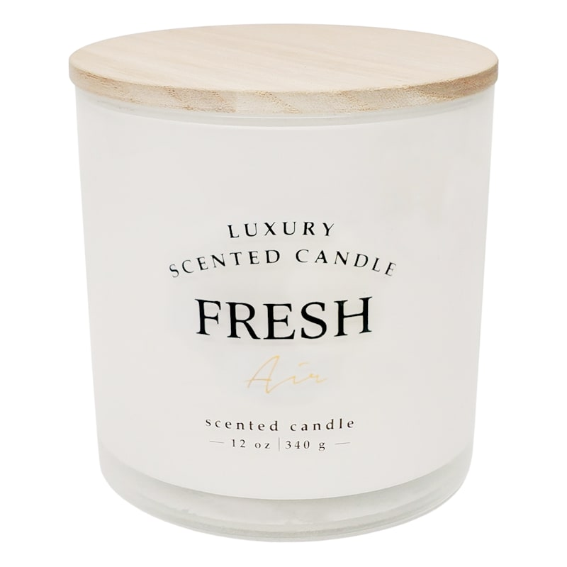 Fresh Air 12oz Wood Lid 2-Wick Glass Candle