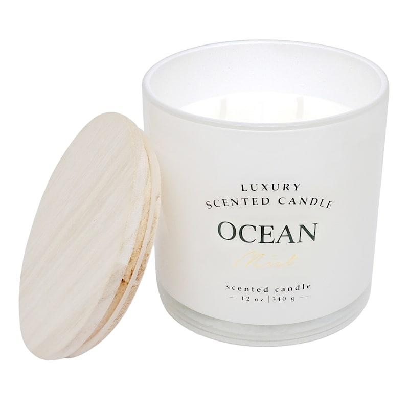 Ocean Mist 12oz Wood Lid 2-Wick Glass Candle