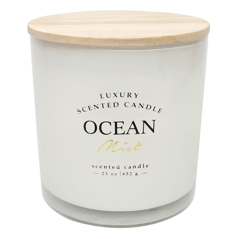 Ocean Mist 23oz Wood Lid 2-Wick Glass Candle