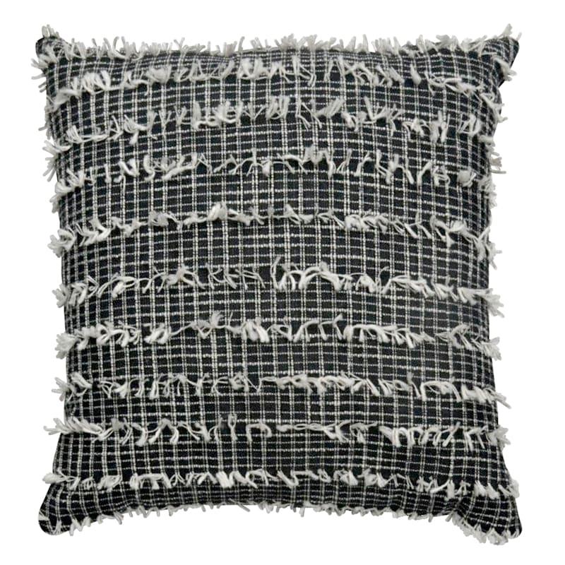 Black Woven Tuft Pillow 18X18