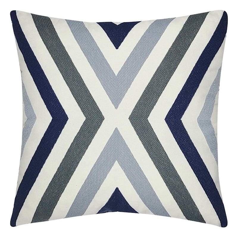 Dark Blue Canvas Embroidered Pillow 18X18