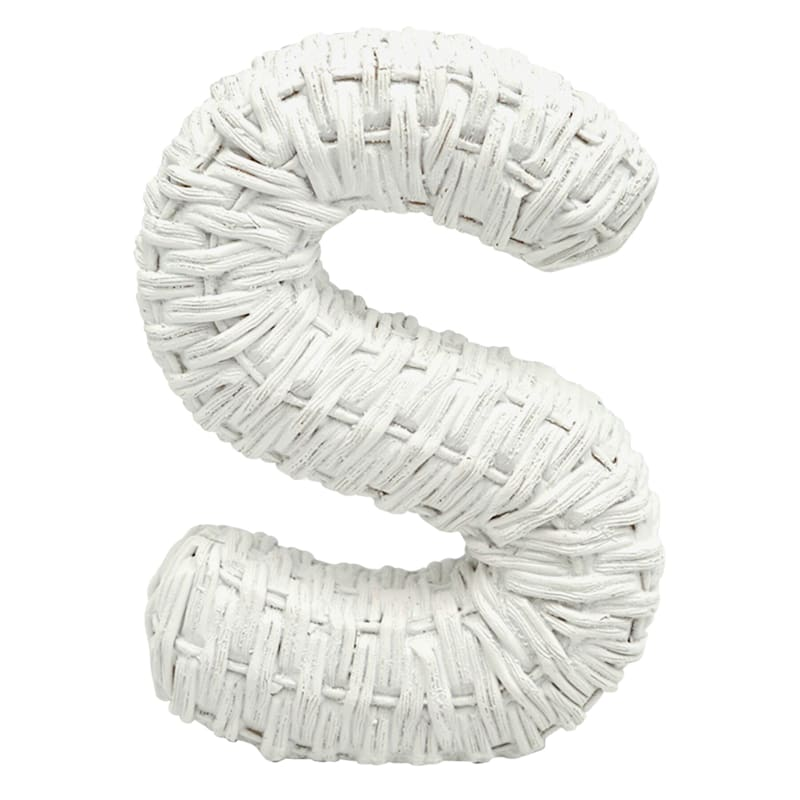 Grace Mitchell 6in. Resin White Letter S