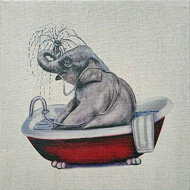 12X12 Bathing Beauty Elephant Canvas Art