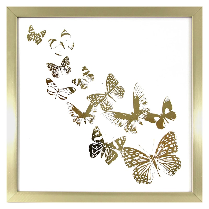 15X15 Butterflies Framed Wall Art Under Glass