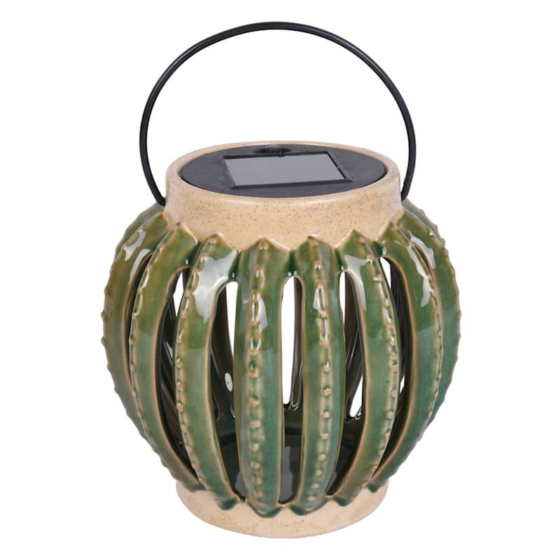 Cactus Solar Ceramic Lantern Battery Included