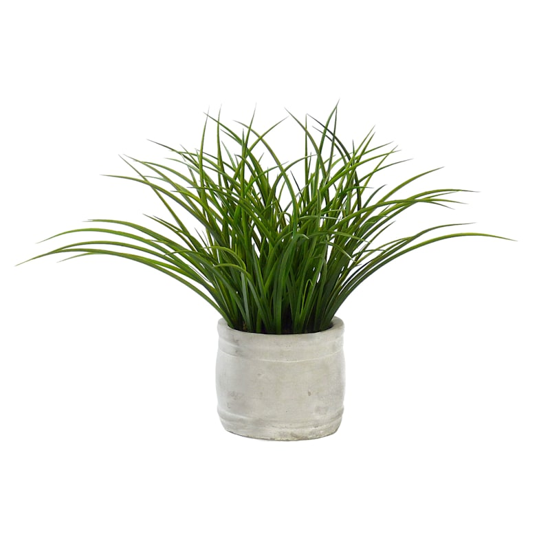 17IN GRASS IN WHT CEMENT POT