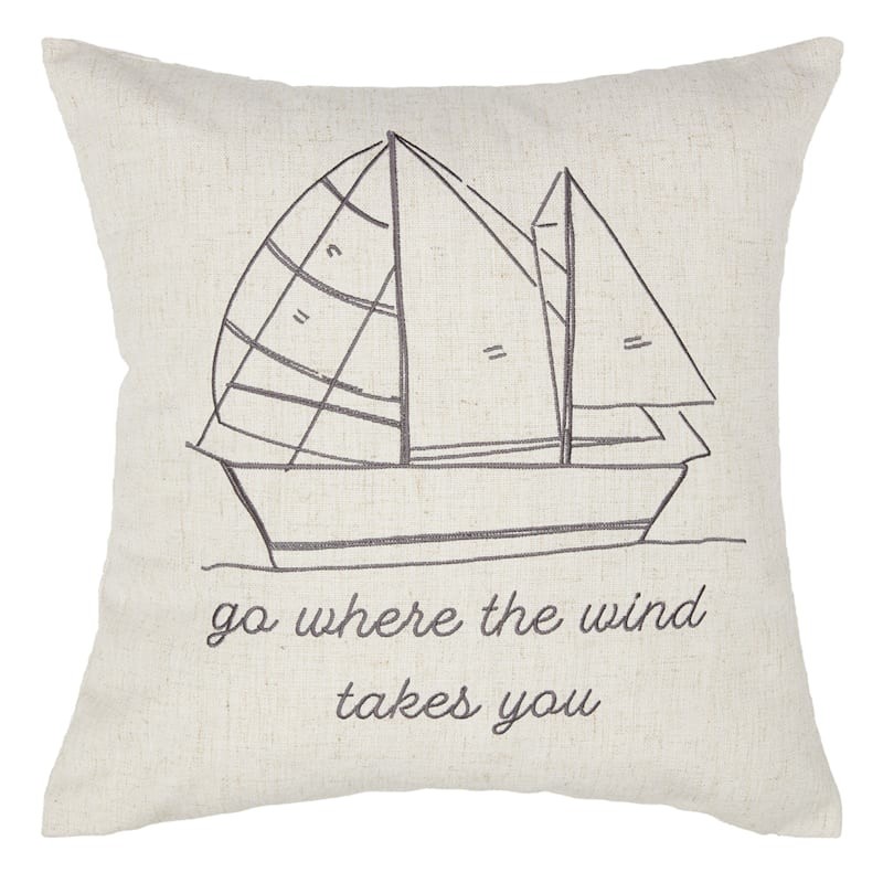 Black Embroidered Sailboat Pillow 18X18