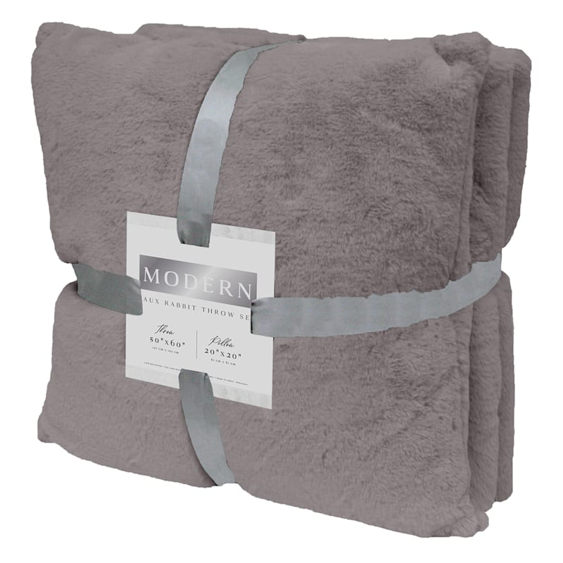 FAUX RABBIT FUR THROW SET GREY