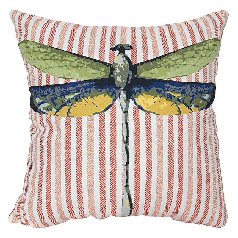 Grace Mitchell Outdoor Pillow - Dragonfly With Stripes