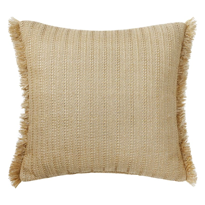 Grace Mitchell Tan Outdoor Fringe Pillow