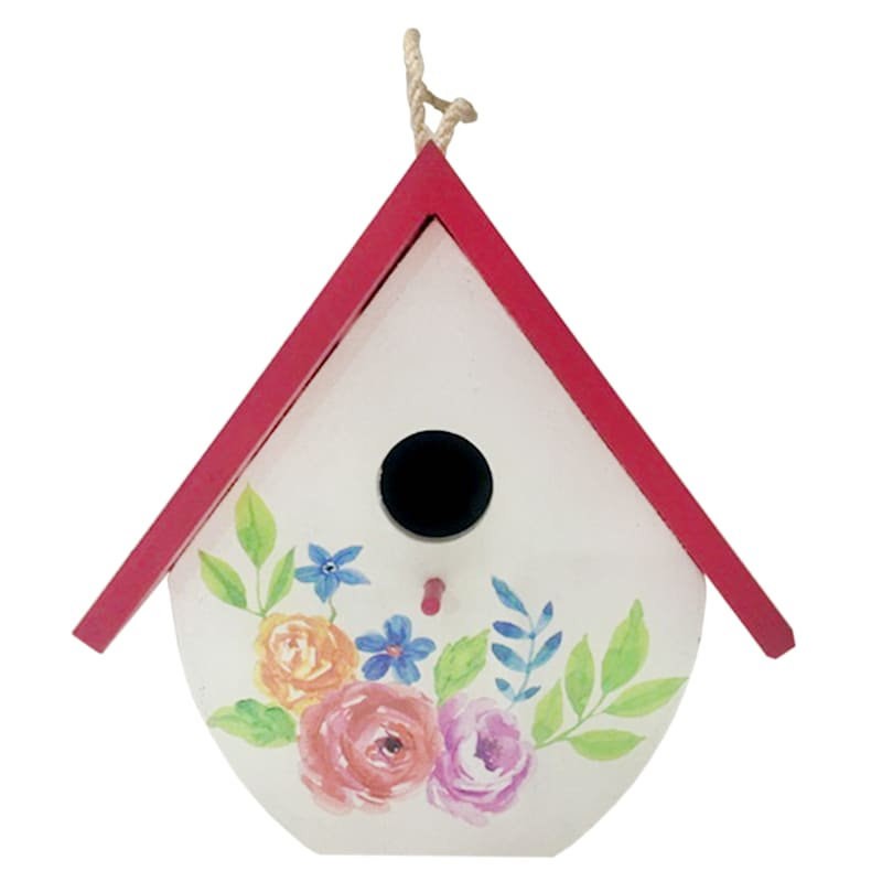 Grace Mitchell 7.9in. Wood Birdhouse Red Roof