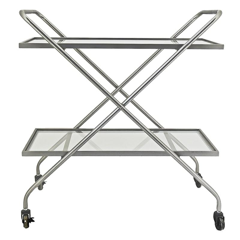 2 Tier Glass Shelf Bar Cart With Metal Frame