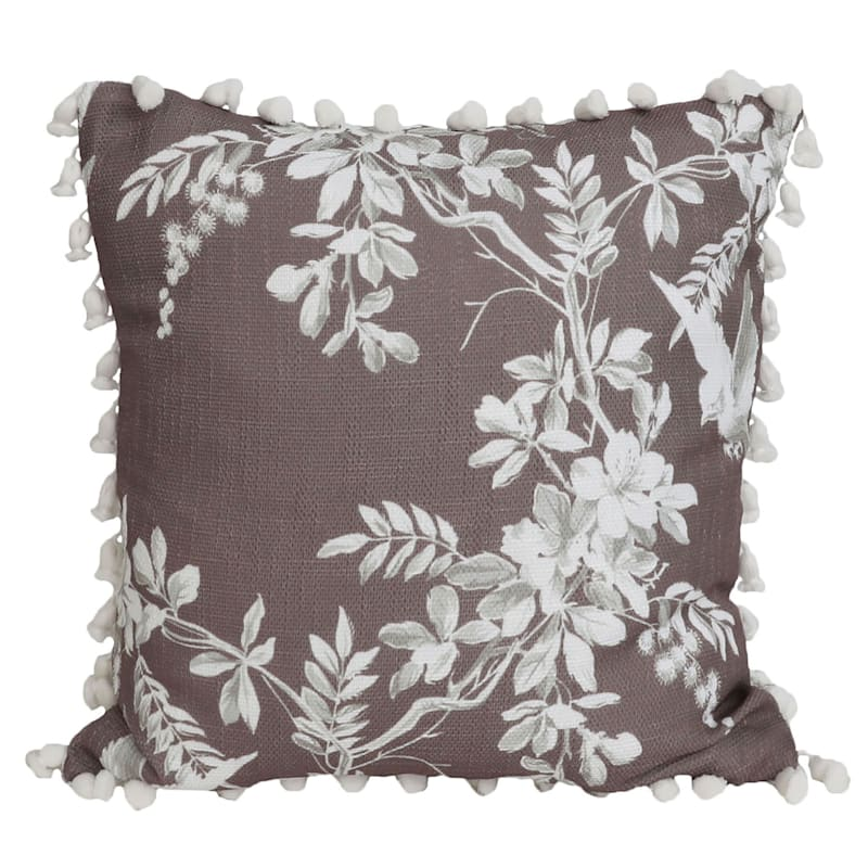 Trinity Brown Floral Reversible Pillow With Tassels 20in.