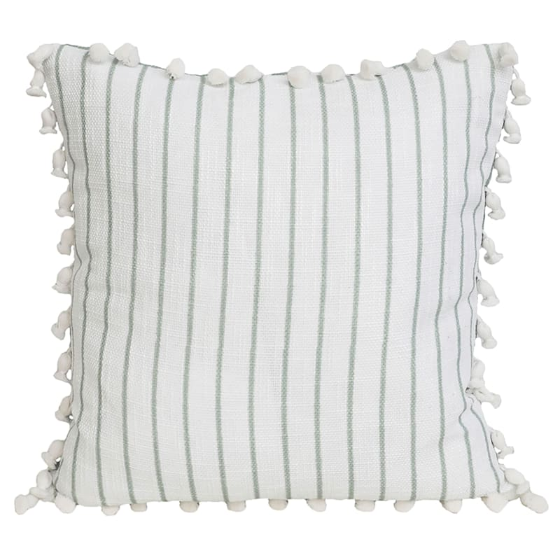 Trinity Green Floral Reversible Pillow With Tassels 20in.
