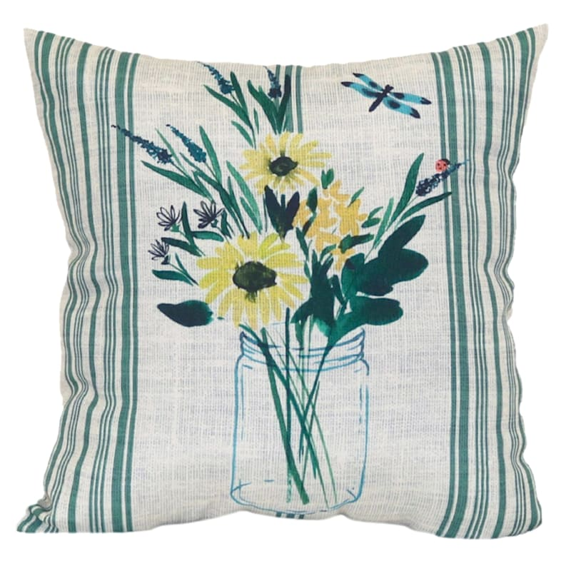 Farmhouse Flower 16X16 Indoor/Outdoor Decorative Pillow