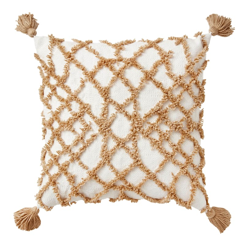 18in. Tan Tufted Pillow