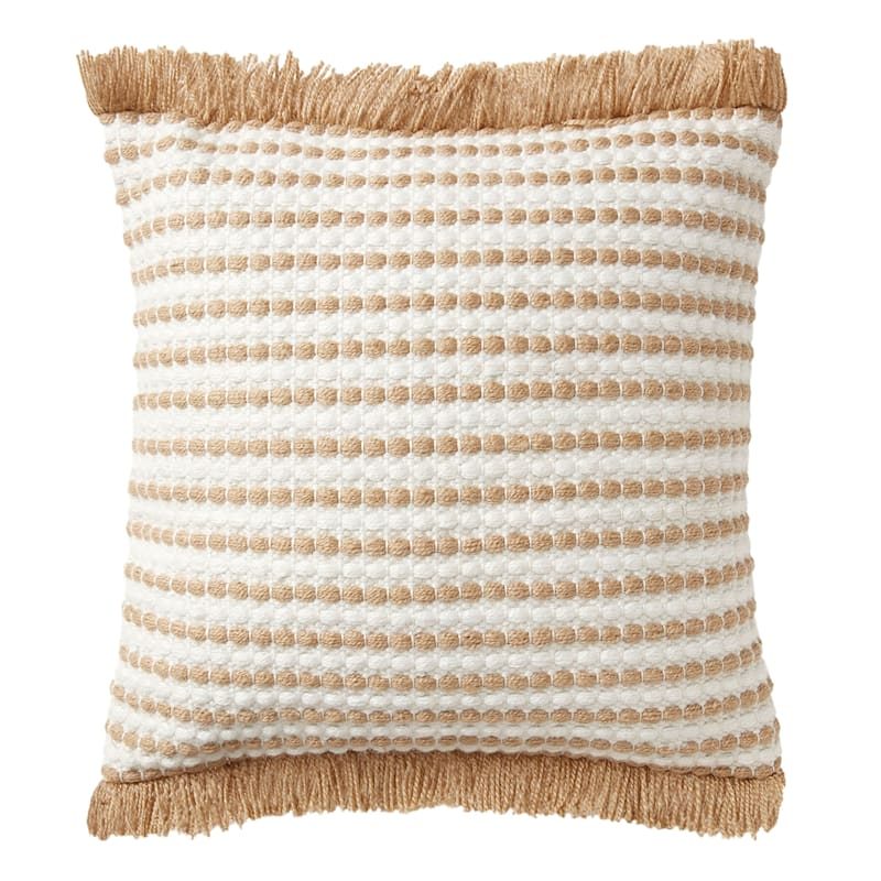 18in. Tan Woven Pillow