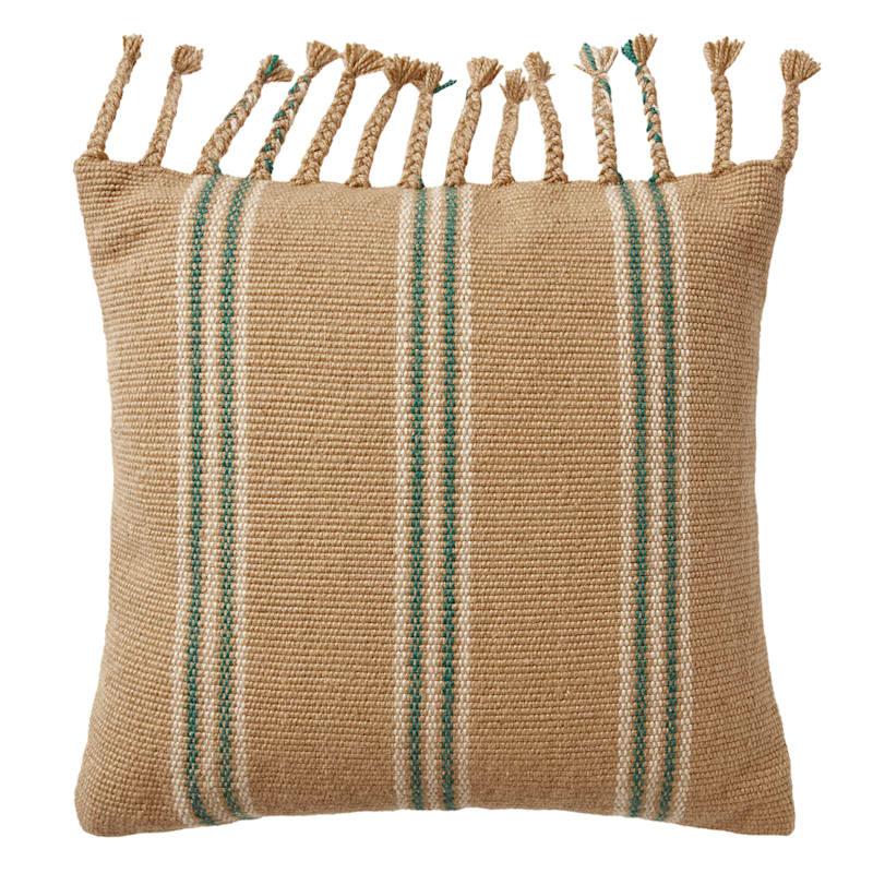 Tan/Blue Stripe Pillow