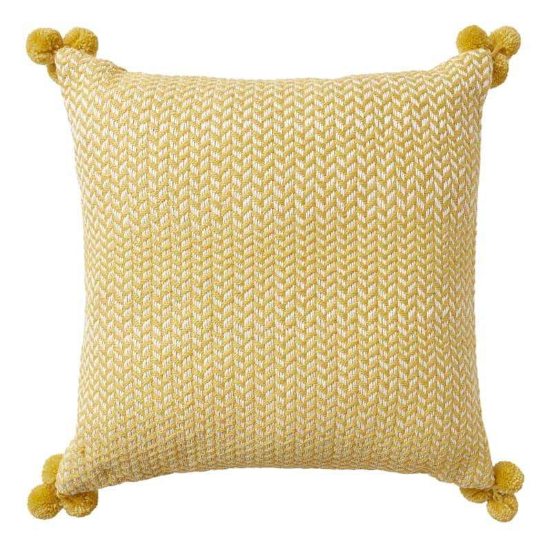 Grace Mitchell 18in. Yellow Throw Pillow w/ Pom Poms