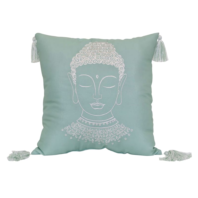 Tracey Boyd Buddha Head Embroidery 18X18 Indoor/Outdoor Decorative Pillow/Tassels