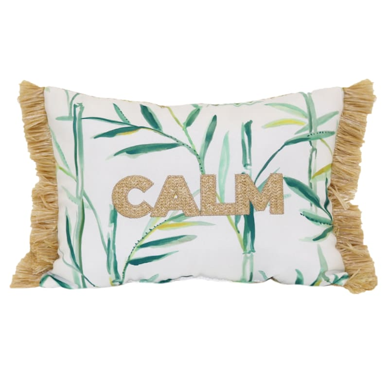 Tracey Boyd Calm Hermosa Applique 18x13 Indoor/Outdoor Decorative Pillow/Side Fringe