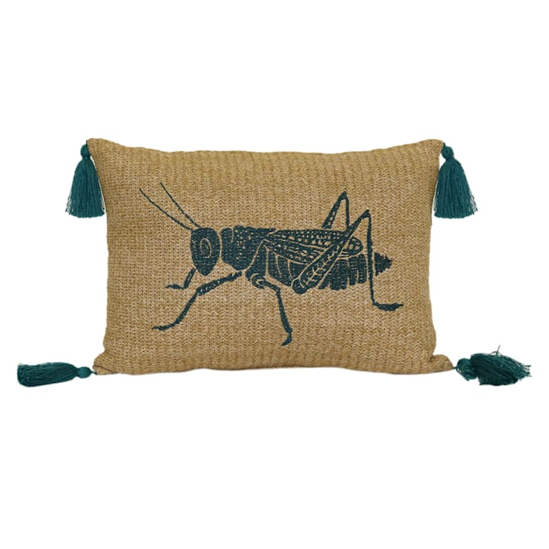 Tracey Boyd Grasshopper Hermosa Embroidery 13X18 Indoor/Outdoor Pillow/Tassels