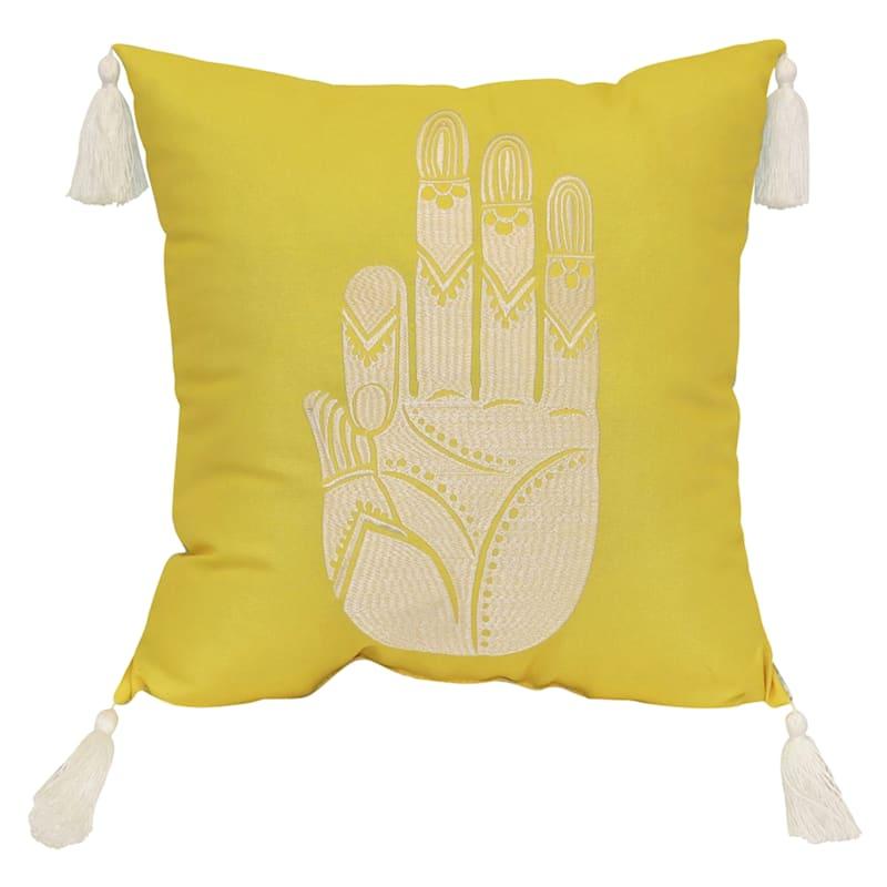 Tracey Boyd Zen Hand Embroidered 18X18 Indoor/Outdoor Decorative Pillow/Tassels