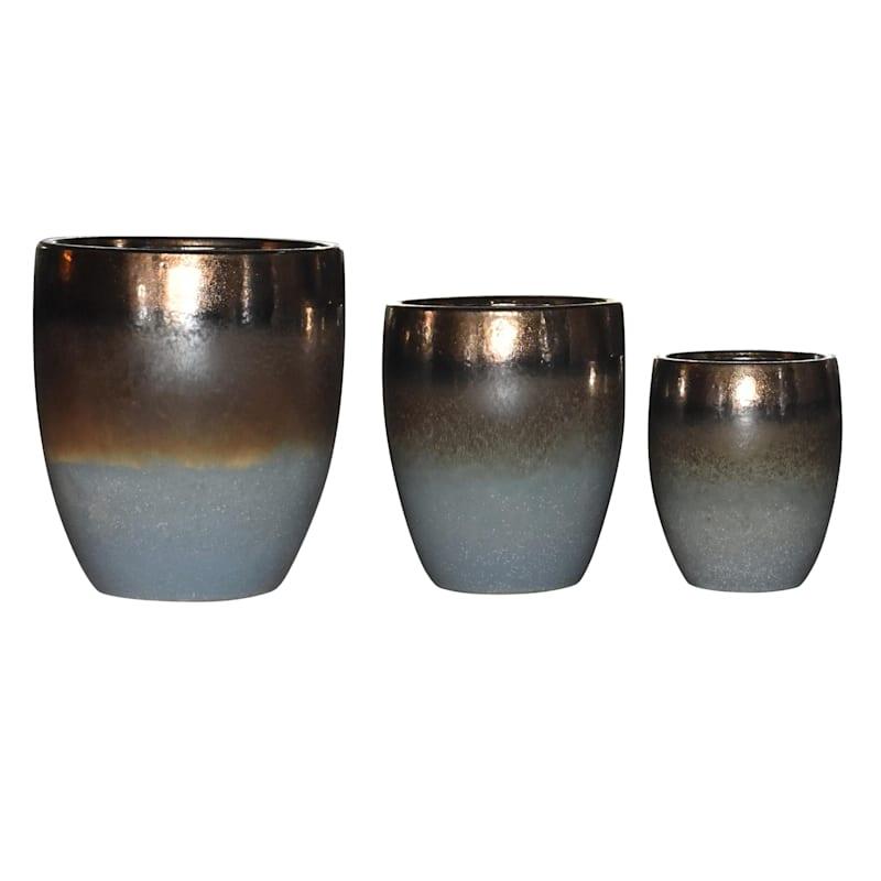 9in. Indoor Ceramic 2-Tone Brown/Blue/Green Reactive Glazed Round Pot