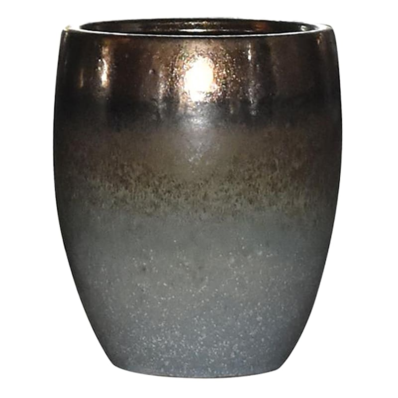 11in. Indoor Ceramic 2-Tone Brown Blue/Green Reactive Glazed Round Pot