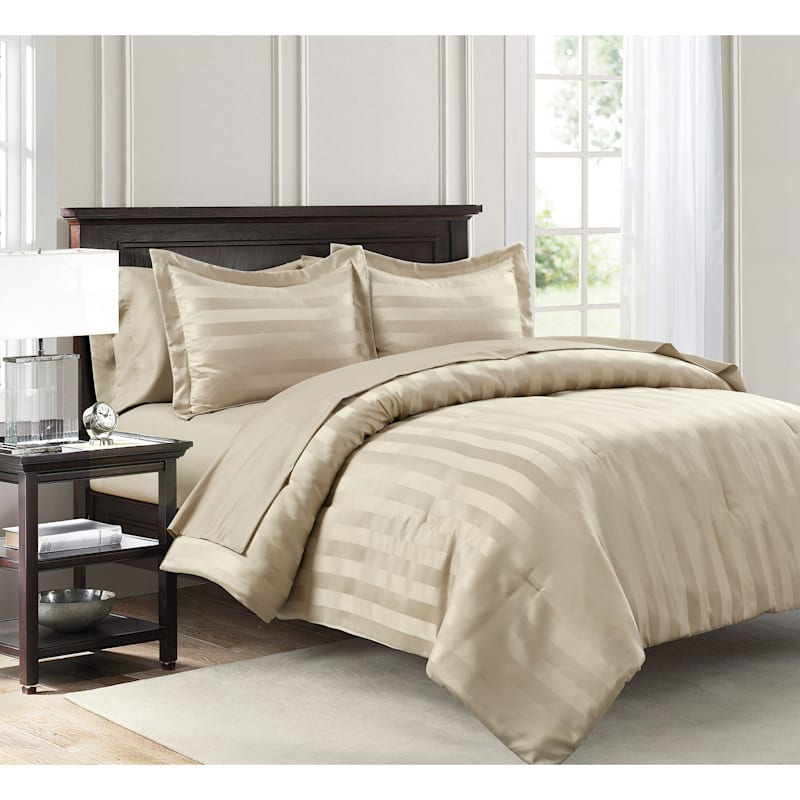 Dobby Stripe 7-Piece Bed-in-a-Bag, Queen, Tan