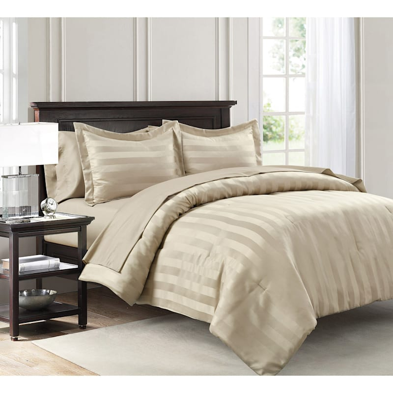 Dobby Stripe 7-Piece Bed-in-a-Bag, King, Tan