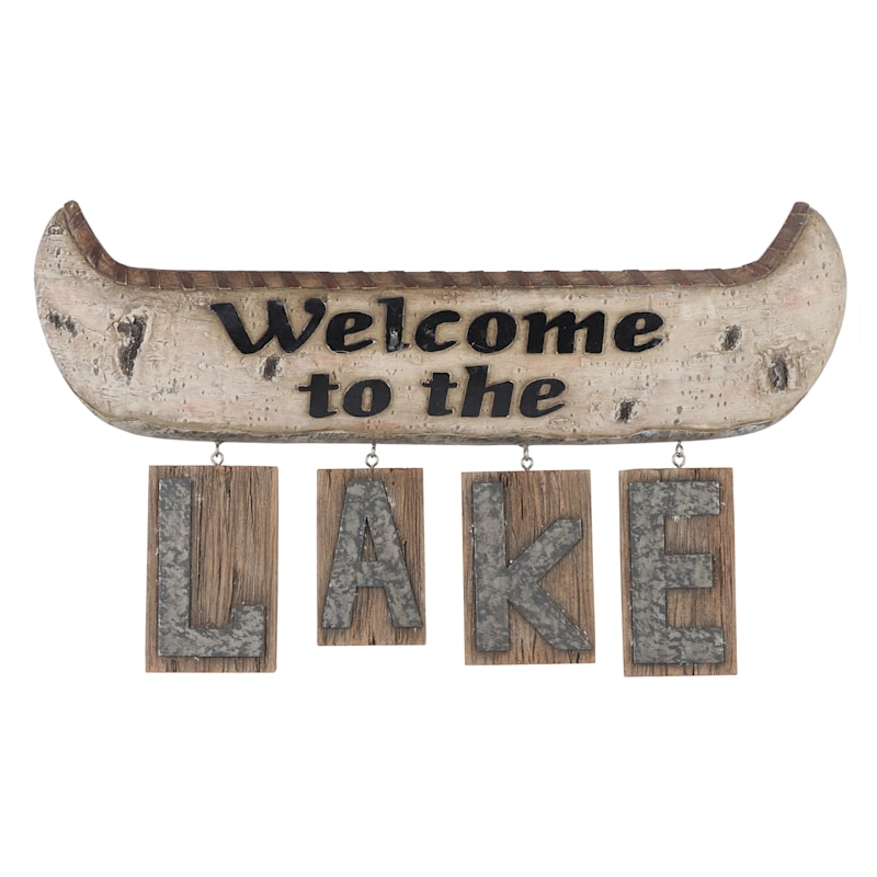 16in. Resin Lake Welcome Sign