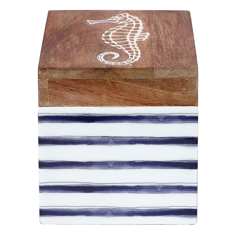 5in. Striped Wood Box with Seahorse