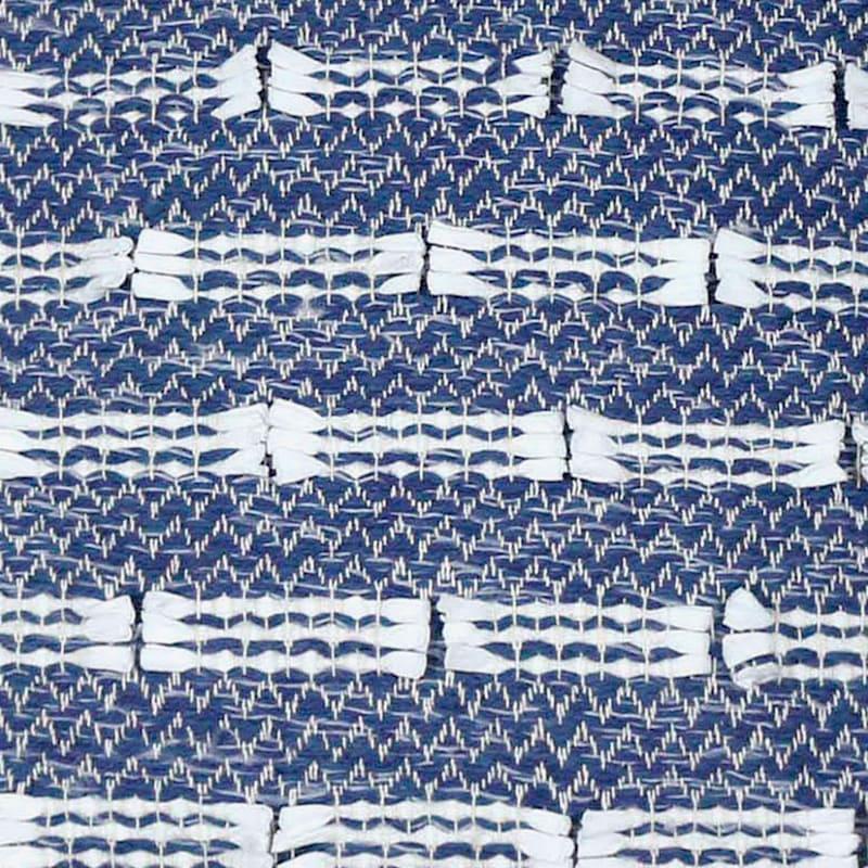 BLUE WHITE POLY WOVEN 18X18