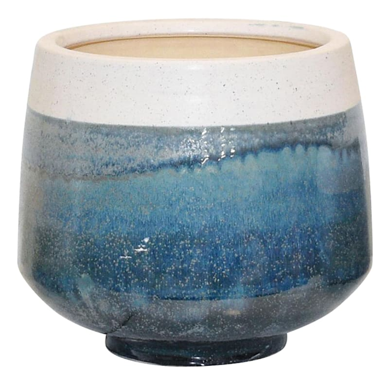 11in. Indoor Ceramic 2-Tone White/Blue/Green Reactive Glazed Pot W/Base
